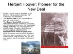 herbert hoover pioneer for the new deal