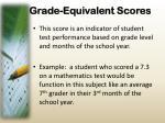 grade equivalent scores