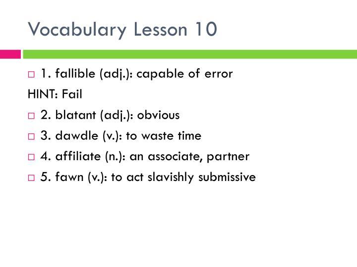 Vocabulary lesson 10