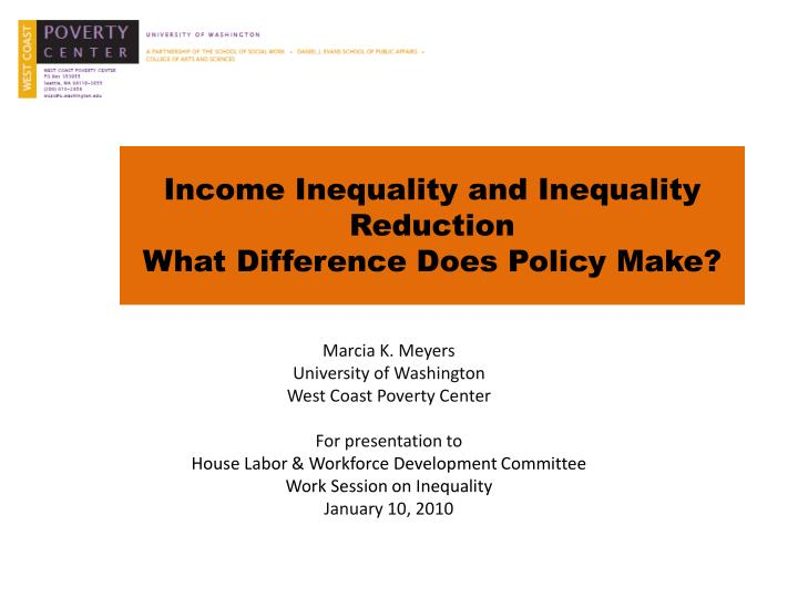 income inequality and inequality reduction what difference does policy make n.