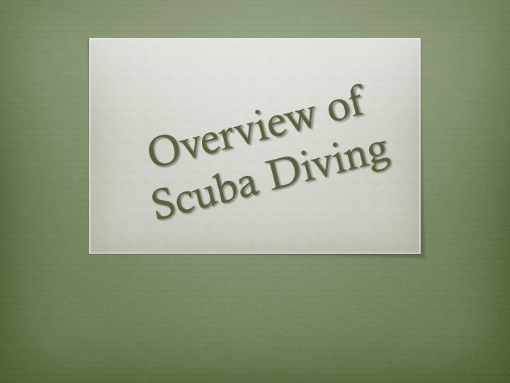 overview of scuba diving n.