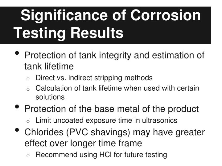 Significance of Corrosion Testing Results