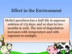 effect in the environment