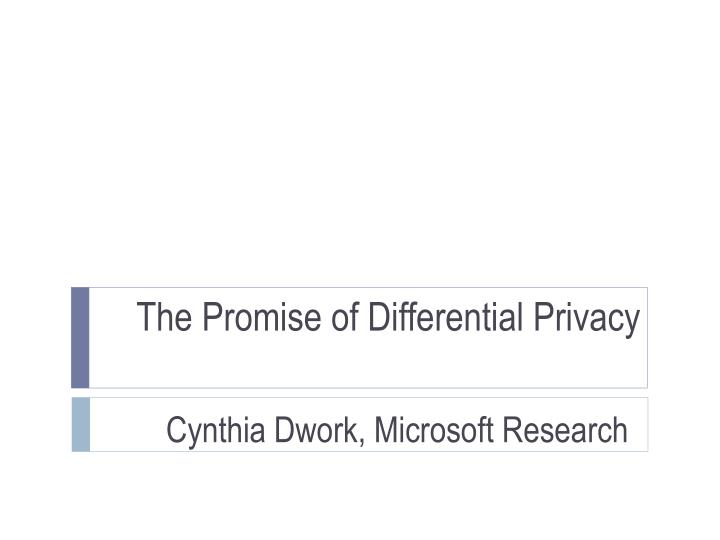 the promise of differential privacy n.