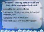write the following definitions on the back of the appropriate flash card2