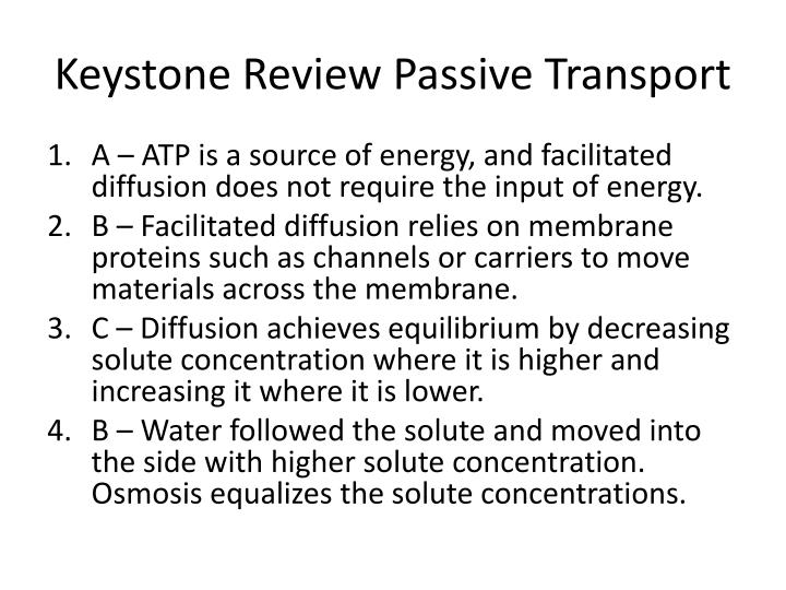 keystone review passive transport n.