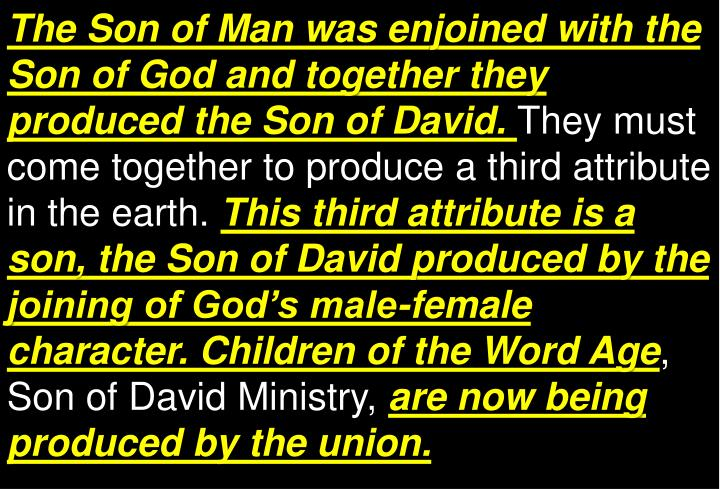 The Son of Man was enjoined with the Son of God and together they produced the Son of David.