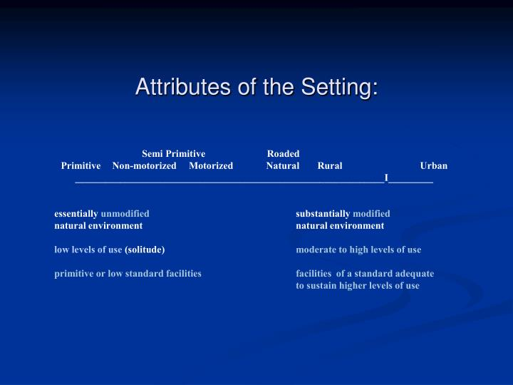 Attributes of the Setting:
