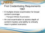 first credentialing requirements 1961