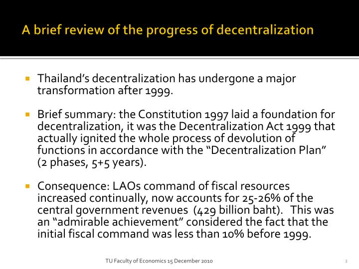 A brief review of the progress of decentralization