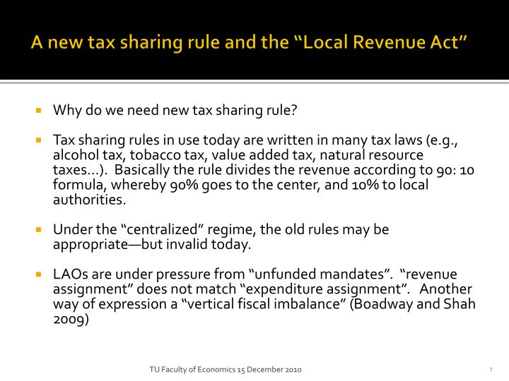 """A new tax sharing rule and the """"Local Revenue Act"""""""