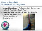 lines of longitude or meridians of longitude
