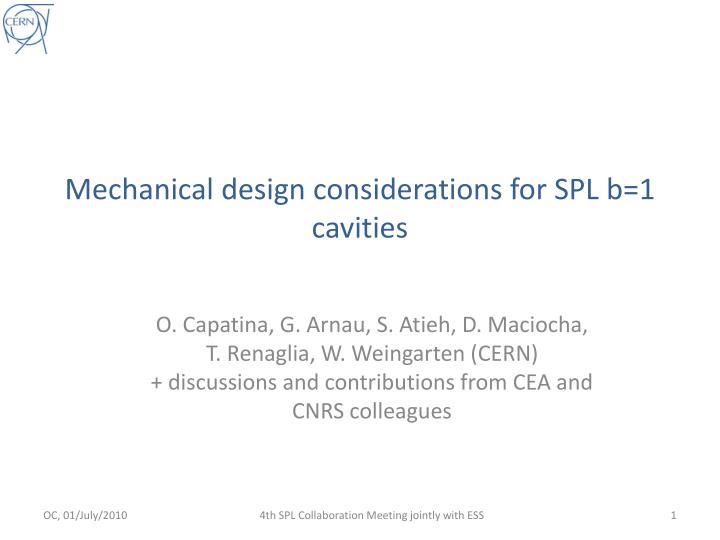 mechanical design considerations for spl b 1 cavities n.