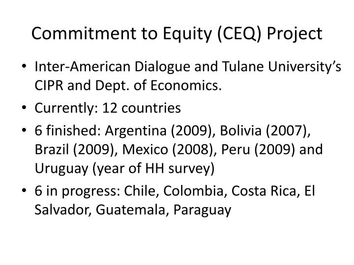 Commitment to equity ceq project