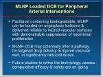 mlnp loaded dcb for peripheral arterial interventions