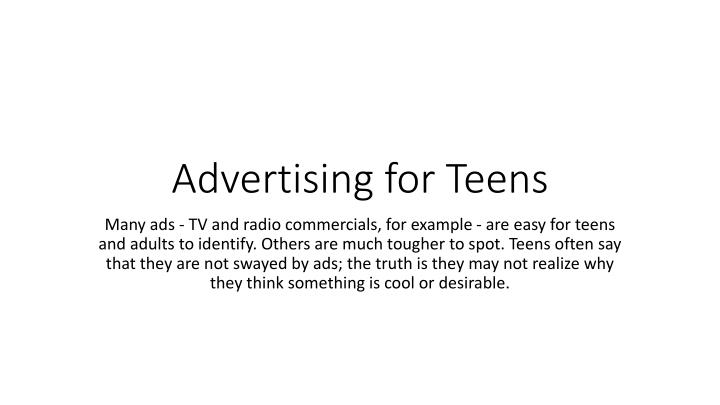 advertising for teens n.