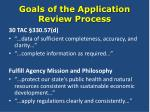 goals of the application review process