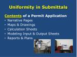 uniformity in submittals