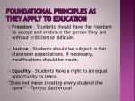 foundational principles as they apply to education