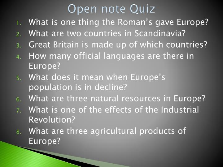 Open note Quiz