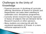 challenges to the unity of knowledge