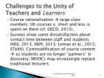 challenges to the unity of teachers and learners