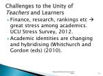 challenges to the unity of teachers and learners1