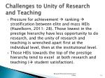 challenges to unity of research and teaching