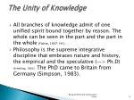 the unity of knowledge