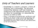 unity of teachers and learners