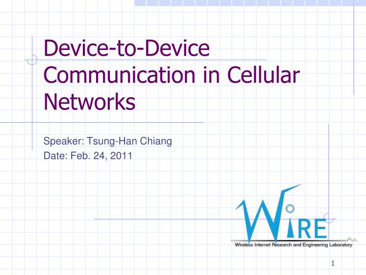 device to device communication in cellular networks n.
