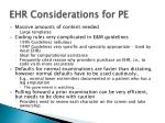 ehr considerations for pe