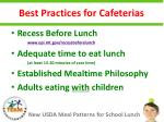 best practices for cafeterias