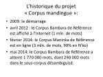 l historique du projet corpus mandingue