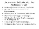 le processus de l int gration des textes dans le cbr