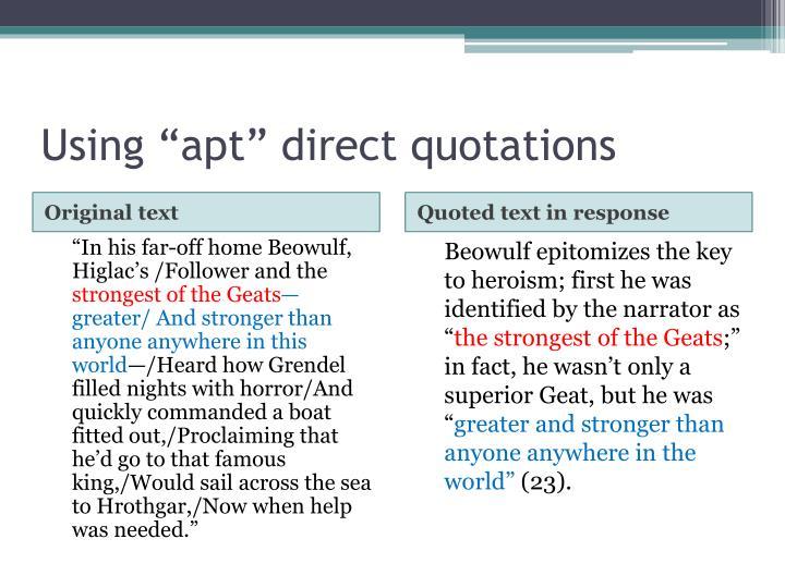 "Using ""apt"" direct quotations"
