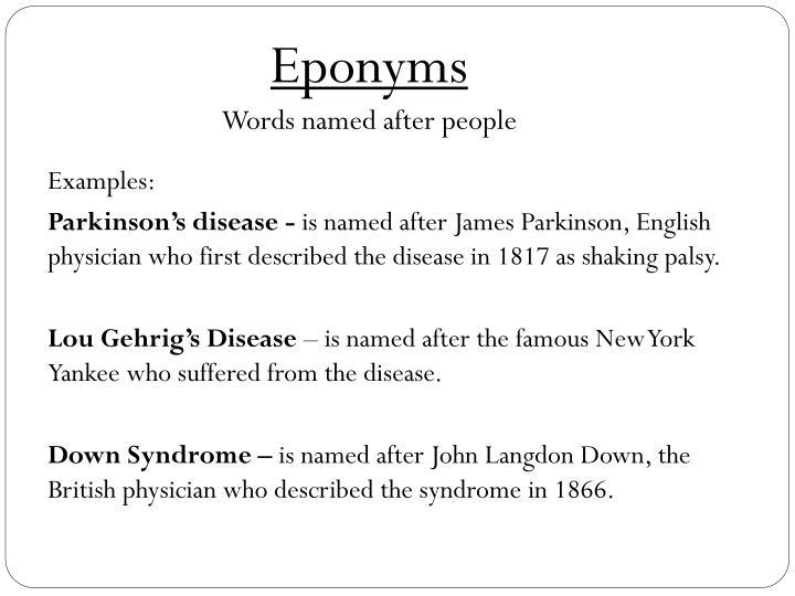 Eponyms
