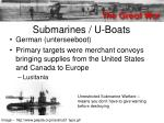 submarines u boats
