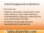 a brief background to altmetrics