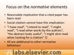 focus on the normative elements