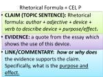 rhetorical formula cel p