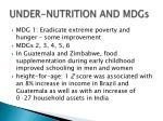 under nutrition and mdgs