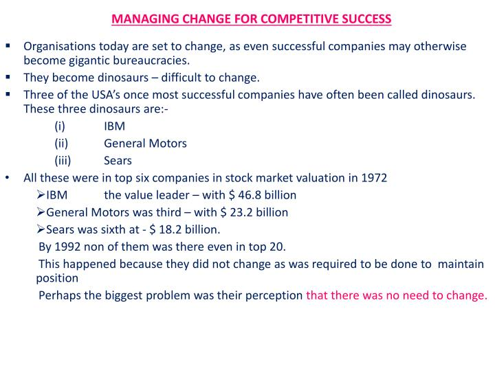 managing change for competitive success n.