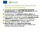 recommendations for educational settings and learning