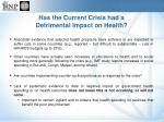 has the current crisis had a detrimental impact on health1