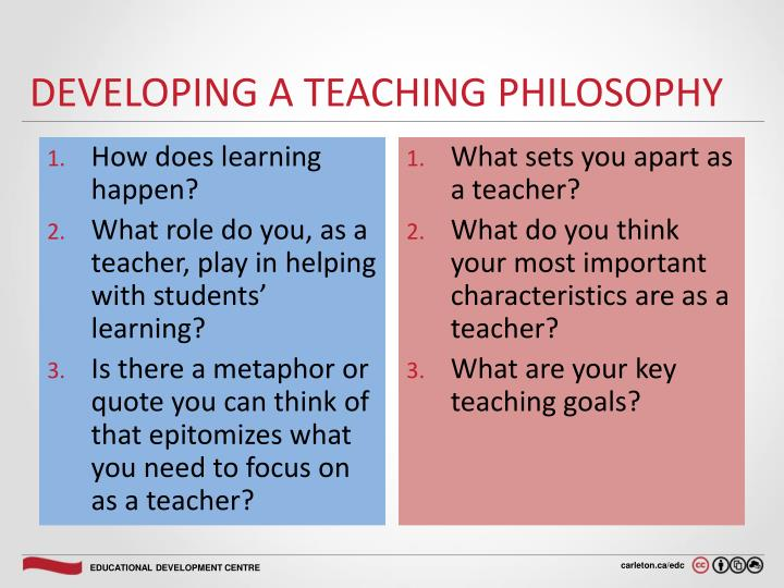 Developing a Teaching Philosophy