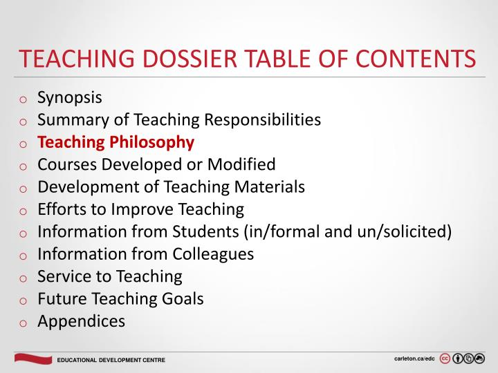 Teaching dossier Table of Contents