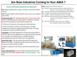 are new industries coming to your area