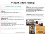 are your residents reading