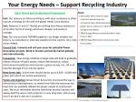 your energy needs support recycling industry